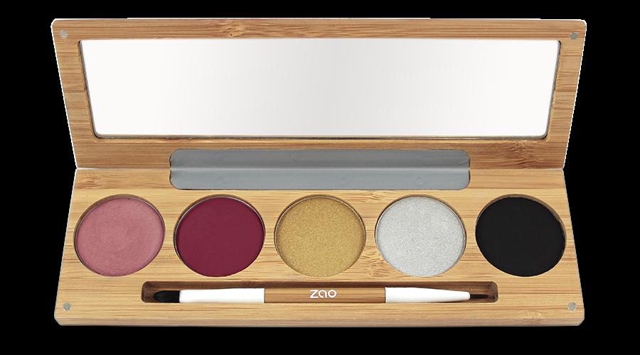 Palette maquillage – joues lèvres yeux – WINTER CHIC – boîtier bambou rechargeable + miroir + pinceau – 5x3g – bio, vegan – ZAO